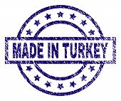Made In Turkey Stamp Seal Watermark With Grunge Texture. Designed With Rectangle, Circles And Stars. poster