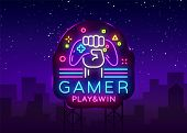 Gamer Play Win Logo Neon Sign Vector Logo Design Template. Game Night Logo In Neon Style, Gamepad In poster
