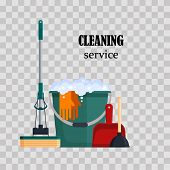 Cleaning Service. Colorful Set House Cleaning Tools With Bucket, Mop, Glovers, Scoop, Toilet Plunger poster