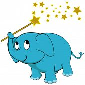 Vector Make a Wish - Baby Elephant Holding a Golden Star Magical Wand