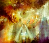 Mystical Abstract Painting, vivid colors  with hands holding large eye, figures draped in cloth and  poster