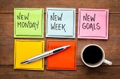 new Monday, new week, neew goals - handwriting on colorful sticky notes with a cup of coffee poster