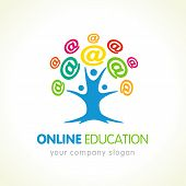 Online Education Logo, People Tree And Colored Internet Sign. Communication Emblem, University Or Sc poster