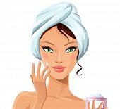 pic of young adult  - Beautiful girl during beauty ritual - JPG