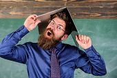 Teacher Bearded Man With Modern Laptop Chalkboard Background. School Blows His Mind. Hipster Teacher poster