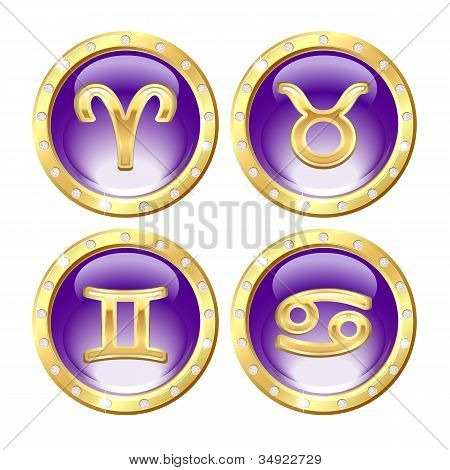 Постер, плакат: Набор знаков зодиака Золотой, холст на подрамнике