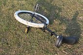 pic of unicycle  - A unicycle with black seat at rest