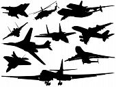 stock photo of fighter plane  - Silhouettes of military and civil aircraft and helicopters - JPG