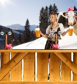 Sexy Woman In Snow And Mountains Serving Beer