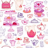 stock photo of plateau  - Seamless high tea cake party cup and pot vector pattern background - JPG