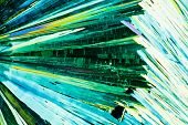 Urea or carbamide crystals in polarized light