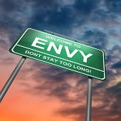 picture of envy  - Illustration depicting a green roadsign with an envy concept - JPG