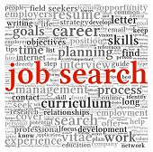 Job search concept in word tag cloud on white background