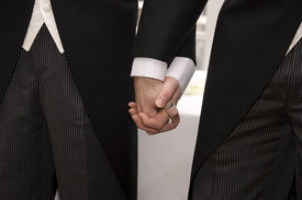 picture of gay wedding  - A gay couple walking back down the aisle after making their vows at their civil partnership - JPG