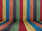stock photo of timber  - Concept or conceptual abstract multicolored or colorful old vintage grungy wood wall floor texture background - JPG