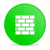 firewall green circle web glossy icon