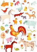 picture of farm animals  - vector illustration with a set of different colorful design elements for Easter - JPG