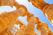 foto of stone sculpture  - Pillars of the Great Hypostyle Hall in Karnak Temple - JPG