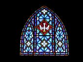 picture of stained glass  - Stained glass featuring a dove located in a small chapel at a rural retreat center - JPG