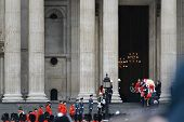 LONDON - UK, APRIL 17: Baroness Thatcher's coffin enters St Paul's Cathedral on April 17, 2013 in Lo