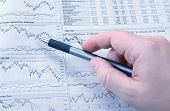 stock photo of stock market data  - Analysis of stock market news financial background