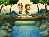 picture of boy scout  - Illustration of the two kids crossing the river - JPG