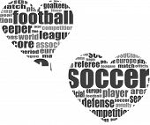 Football Word Cloud Concept In Heart Shape 3d
