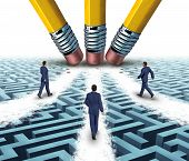 stock photo of pencil eraser  - Team solutions with a group of business people walking over a clear path on a confusing maze or labyrinth that has been cleared by three pencil erasers as a teamwork business concept - JPG