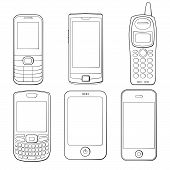 Mobile phones silhouettes set