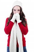picture of shivering  - Stock image of teen shivering in winter clothing - JPG
