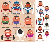 stock photo of no clothes  - Set of cartoon characters representing different sports - JPG