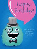 foto of freaky  - Hipster Monster Happy Birthday Card - JPG
