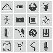 image of transformer  - Vector black  electricity icons set on white background - JPG