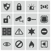 stock photo of virus scan  - Vector black  security icons set on white background - JPG