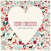 Vintage Merry Christmas Love Heart Card