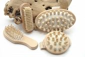 Different Wooden Massage Brush on white background