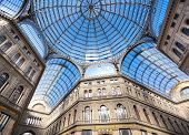 pic of cornerstone  - Umberto I gallery in the city of Naples italy - JPG