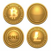 Bitcoin and Litecoin isolated on white