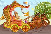 picture of ravan  - vector illustration of King riding Horse Chariot - JPG