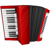 foto of accordion  - Vector illustration red accordion isolated on white - JPG