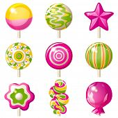 9 bright lollipops icons over white background