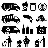 image of trash truck  - Recycling and trash icons for clean environment - JPG