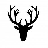 stock photo of antlers  - illustration of a deer head silhouette isolated on white - JPG