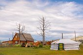 foto of mongolian  - Timber house and Mongolian yurt or ger near Khovsgol Lake in northern Mongolia - JPG