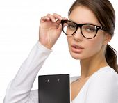 image of shot glasses  - Portrait of business woman with folder wearing black frame glasses - JPG