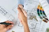 stock photo of blueprints  - New home agreement - JPG