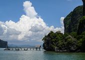 pier on a limestone island in Phang Nga bay, Thailand