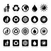 pic of recycling bins  - Vector icons set  - JPG