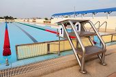 stock photo of swim meet  - Platform Number 1 for Start and Lane of Swimming Pool - JPG