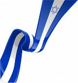 stock photo of israeli flag  - israel ribbon flag isolate on White background - JPG